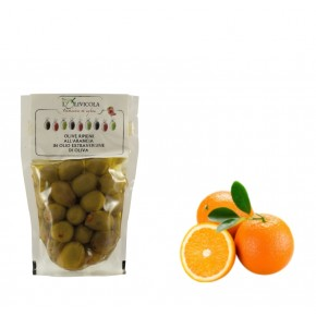 Olive Verdi ripiene all'Arancia in Olio ExtraVergine di Oliva in busta 300gr